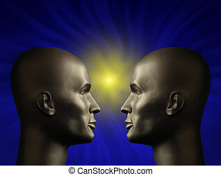 Two android heads facing one another in a blue vortex