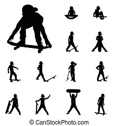 boy skater group vector silhouettes