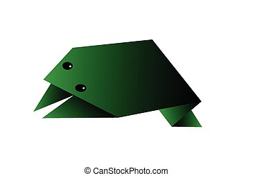 origami frog vector illustration