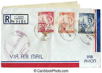 St Lucia Postal Cover - Old used postal cover with airmail...