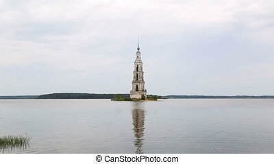 Famous Flooded Belfry on the Volga river in Kalyazin,...