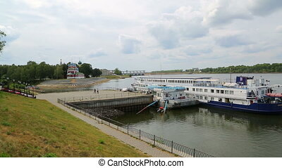 Passenger cruise ship at the pier in Uglich on the Volga...