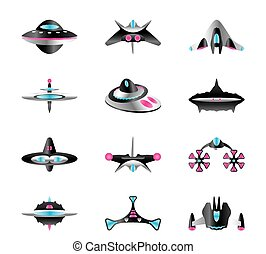 Different types of spaceships - vector illustration