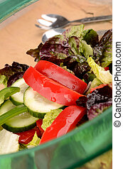 Fresh lettuce with red peppers and cucumber