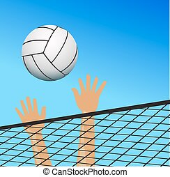 Volleyball player hands over the net with ball
