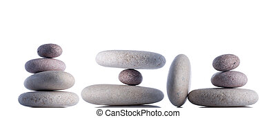 Set fo rocks isolated on white inside studio - Hanging or...