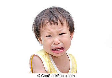 Asian baby girl crying over white background