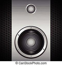 Big speaker on metal