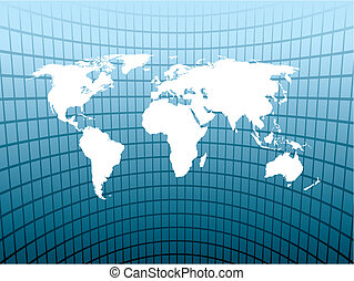 Large map - Large world map on an abstract blue background....
