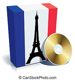 French software box with national flag colors and CD, vector...