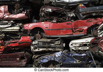 Scrap metal - Stack of scrap cars