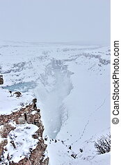 Gulfoss in winter, Iceland - The famous Gulfoss waterfall,...