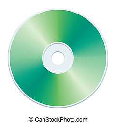 Green CD - Blank green compact disc, vector illustration.