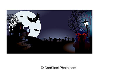 Halloween night, perfect for Halloween holiday, vector...