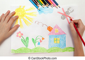 Childrens drawing - Child draws a pencil drawing of the...