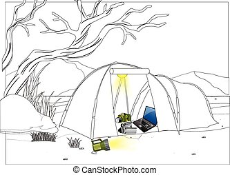 Camping with electronic equipment
