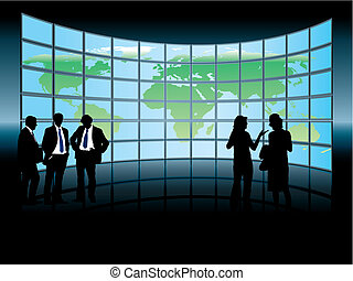 Global business - People are standing in front of a large...