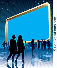 Large billboard - People and a large blank billboard, vector...