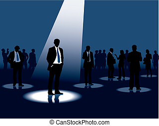 Headhunting - Group of people and one man selected, vector...