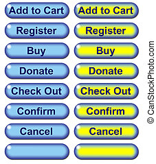 Blue E Commerce Web Buttons with rollovers - Graphic...