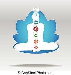 Vector silhouette of meditating person in lotus