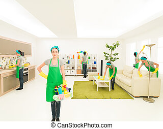 enjoy cleaning - young caucasian woman happy while cleaning...