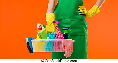 cleaning in progress - close-up of cleaning lady holding...