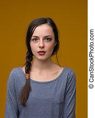 beautiful girl with half face makeup
