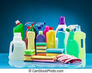 cleaning supplies - cleaning products and supplies on table...