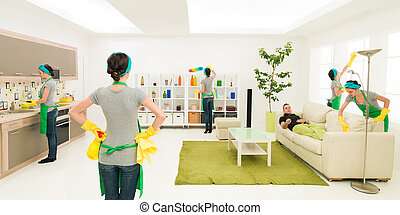 cleaning freak - same woman cleaning living room while man...