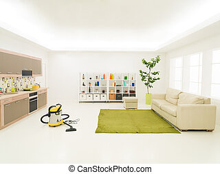 housecleaning - clean modern living room with vacuum cleaner