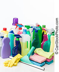 home cleaning products - closeup of cleaning supplies on...