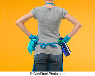 cleaning - back view of woman holding cleaning equipment and...