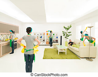 young couple at spring cleaning - woman cleaning house at...