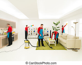 man cleaning home - young caucasian handsome man cleaning...