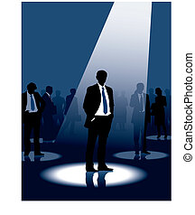 Leadership - Group of people and one man selected, vector...