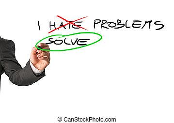 I solve problems - Businessman deciding to face problems and...
