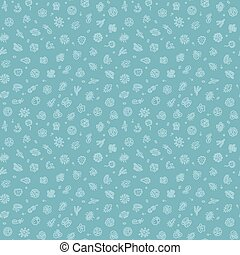 azul, Seamless, patrón, con, bacterias, y, microbios,