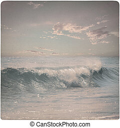 Vintage Background of dreamy wave at the beach