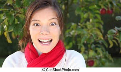 Surprised woman. Woman getting very surprised and excited...