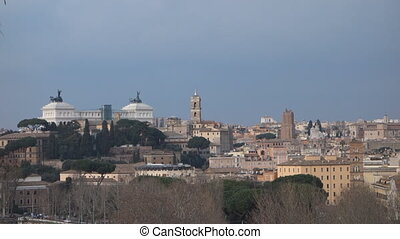 Rome overview - Altar to the fatherland at dusk in Rome,...