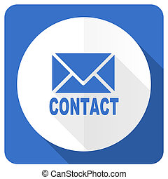 email blue flat icon contact sign