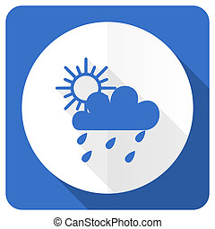 rain blue flat icon waether forecast sign