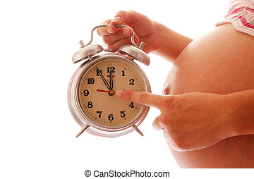 pregnant woman on a white background - pregnant woman with a...