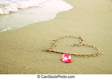 heart in the sand on the beach - a heart in the sand on the...