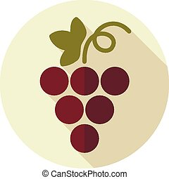 Grapes flat icon with long shadow, eps 10