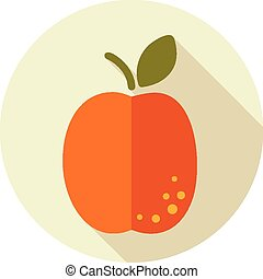 Apricot flat icon with long shadow