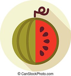Watermelon flat icon with long shadow