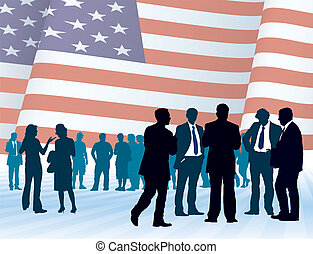 American businesspeople with national flag, vector...