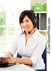 Woman With Headset - Beautiful Asian Female Call Center...